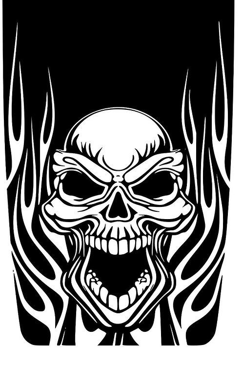 JEEP WRANGLER BLACKOUT HOOD DECAL #2- SKULL FLAME