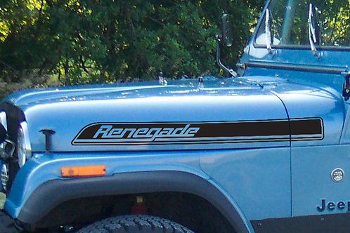 Jeep Renegade Hood Side Stripes graphics Decals Kit CJ, TJ, YJ sticker