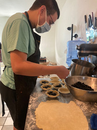 Kevin the Baker making blueberry pies
