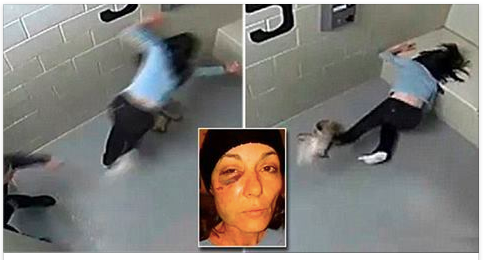 Woman who was shoved FACE-FIRST into a concrete jail cell bench by police officer during DUI arrest