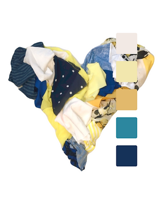 Yellow, blue, and white fabric scraps in a heart shape. Square palettes of yellows and blues.