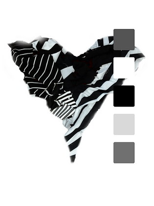 Black and white striped fabrics arranged in a heart shape. Black, gray and white squares are overlaid.