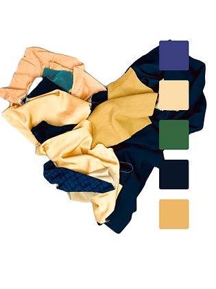 Gold, yellow, and blue fabrics arranged in a heart shape. Square pallet in colors yellow, green, and navy is overlain.