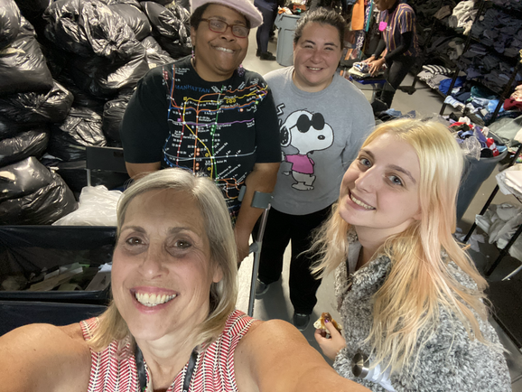 Jeanene, Maggie, Patrice, and Tyff at the FabScrap Warehouse