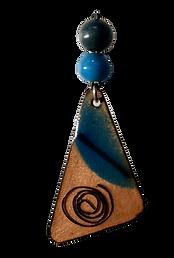 Blue pendant  with copper wire