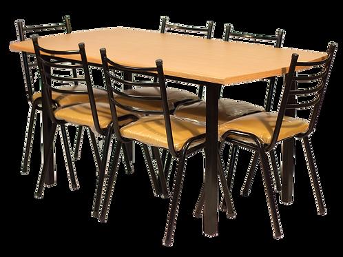 Juego mesa comedor, 6 sillas rocio.