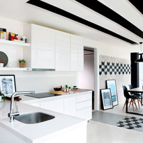 The latest tile collections adorn mock-up kitchens