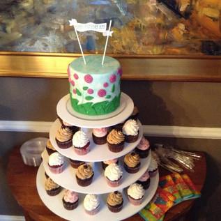 Birthday Cake Topper & Cupcake Tower