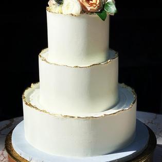 Gold Jagged Edge Wedding Cake