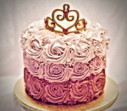 Ombre Gold Crown Birthday Cake
