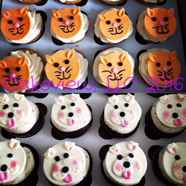 Doggie and Kitty Cupcakes
