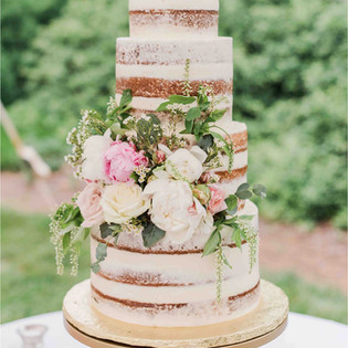 4 tiered Naked Wedding Cake