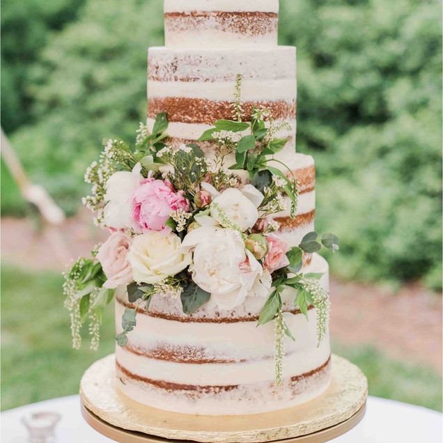 4 tiered Naked Wedding Cake