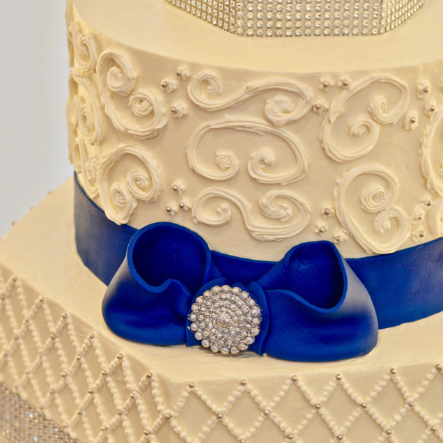 Hexagon Bling & Navy Wedding Cake
