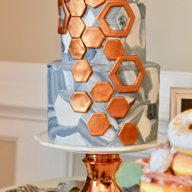 Hexagon Marble & Copper Cake