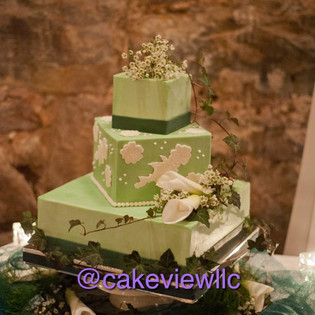 Square Stacked Mint Green & Lace Wedding