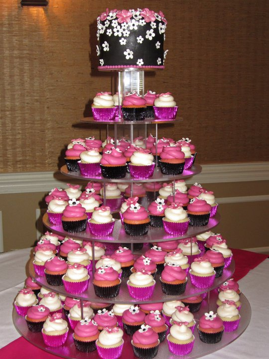 Wedding Black and Hot Pink Cupcake Tower