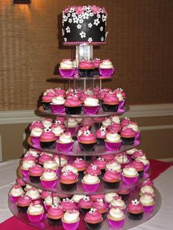 Wedding Black and Hot Pink Cupcake Tower