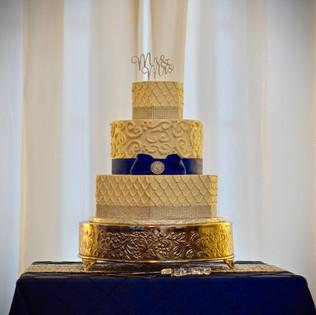 Hexagon Silver Bling & Navy Wedding Cake