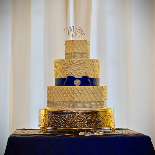Hexagon Silver Bling & Navy Wedding Cake