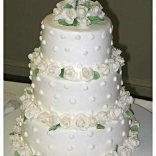 Sugar Rose & Dots Buttercream Wedding Cake