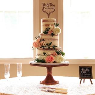 3 tiered Naked Wedding Cake