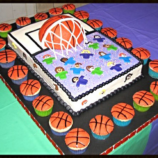 Basketball Cake and Cupcakes