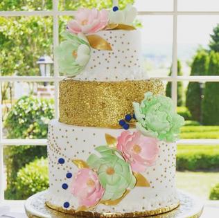 Gold, Mint & Pink Peony Cake