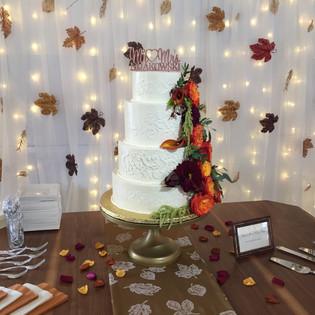 Stencil Lace Fall Wedding Cake