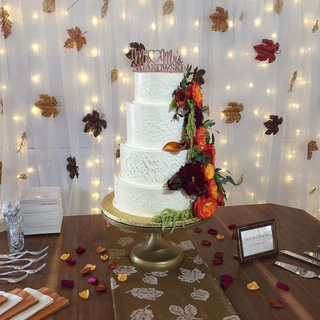 Stencil Lace Fall Wedding Cake