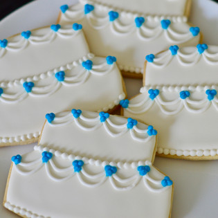 Sky Blue Wedding Cake Cookies