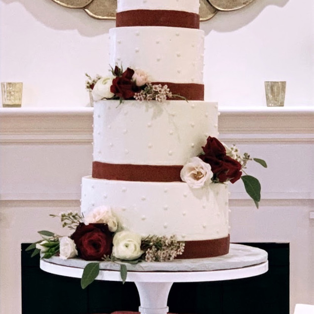 4 Tiered Burgundy Fondant RibbonWedding Cake