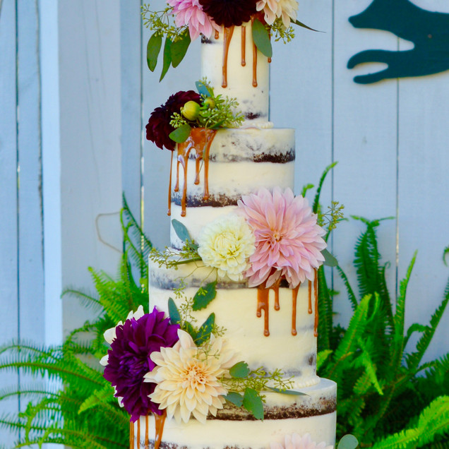 4 tiered Caramel Drip Naked Wedding