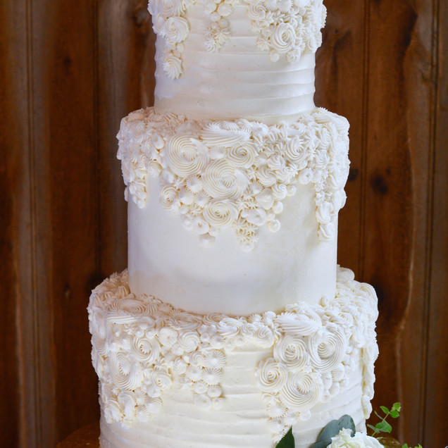 Buttercream Floral Draped Wedding Cake