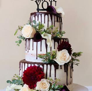 Chocolate Drip Naked Wedding Cake