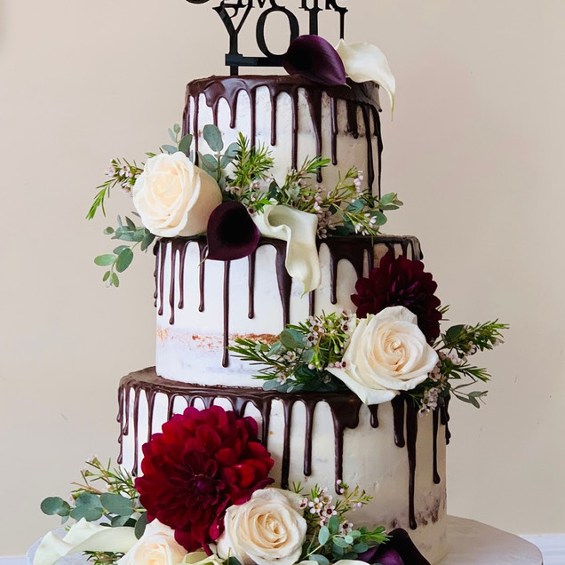 Chocolate Drip Naked Wedding Cake