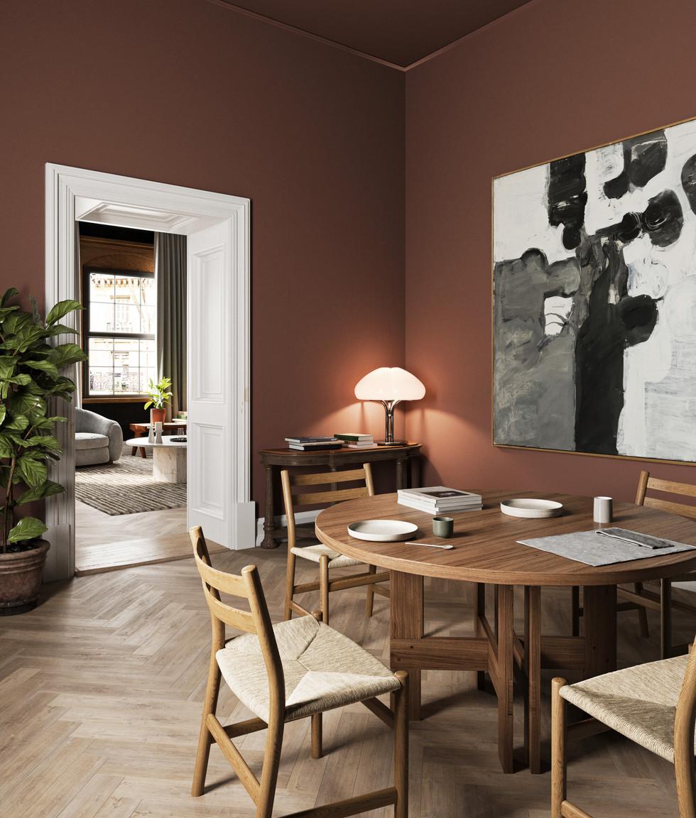 / Warm interior dining room /