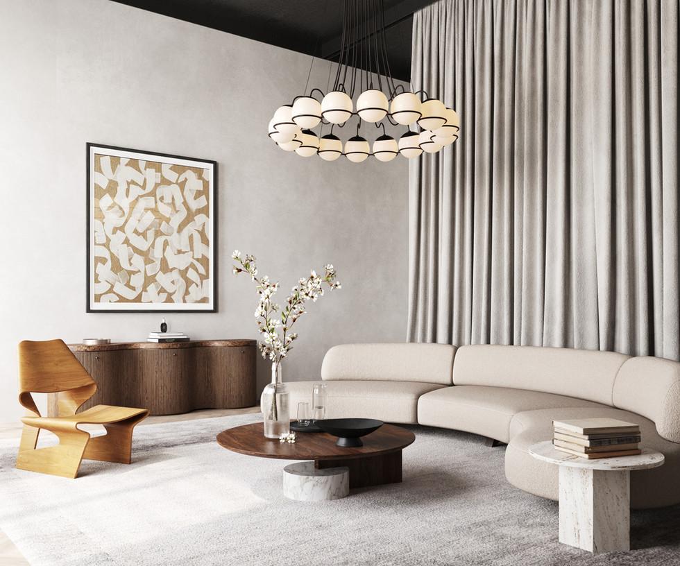 / White and stylish interior /
