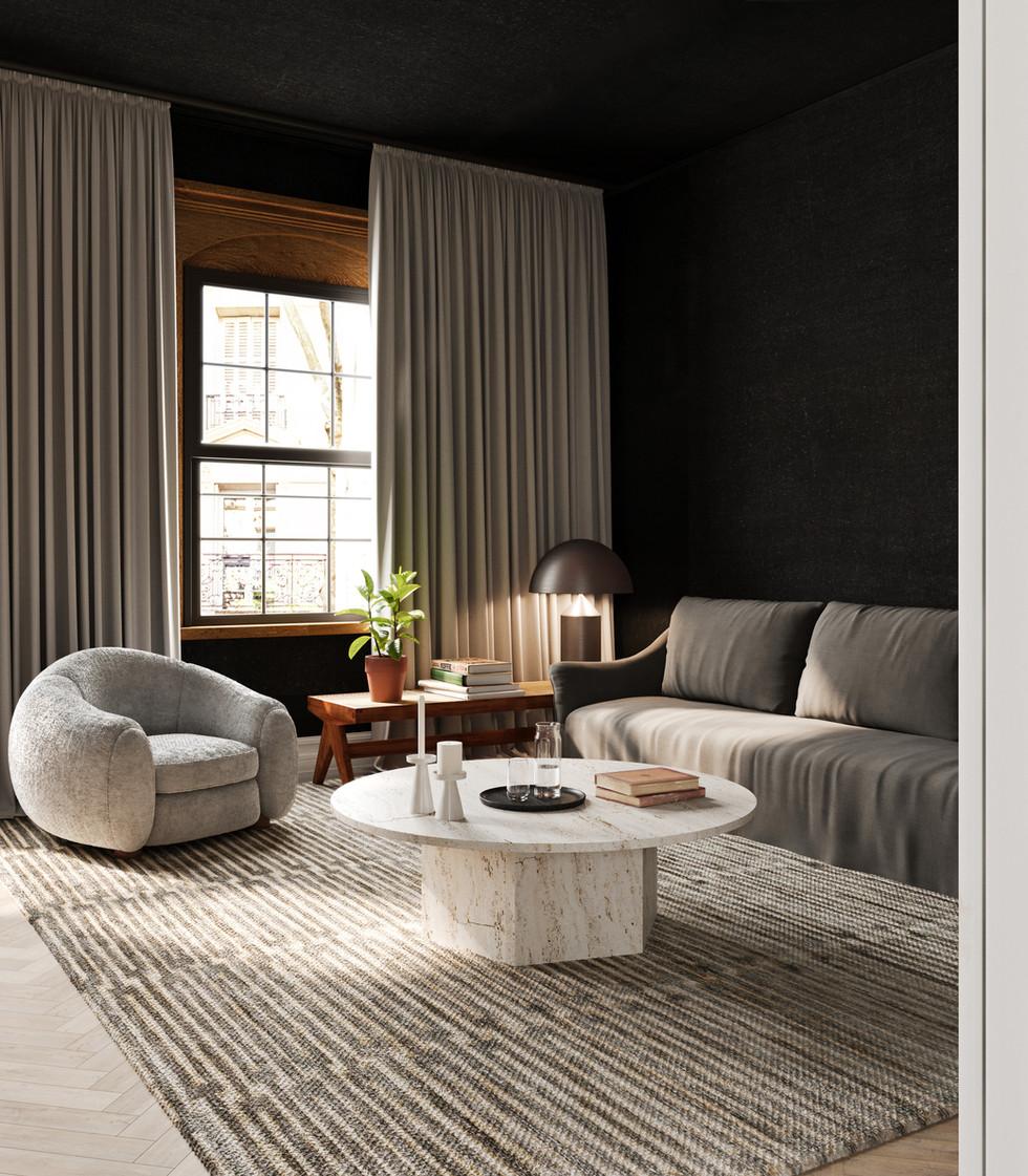 / Dark tones interior living room /