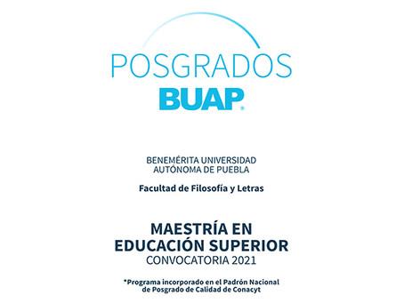 Convoca Facultad de Filosofía y Letras de la BUAP a la Maestría en Educación Superior