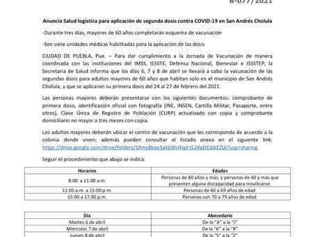 Inicia aplicación de la segunda dosis de vacunas en San Andrés Cholula.