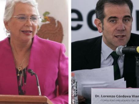 Olga Sánchez y Lorenzo Córdova 'chocan' por el rol del árbitro electoral