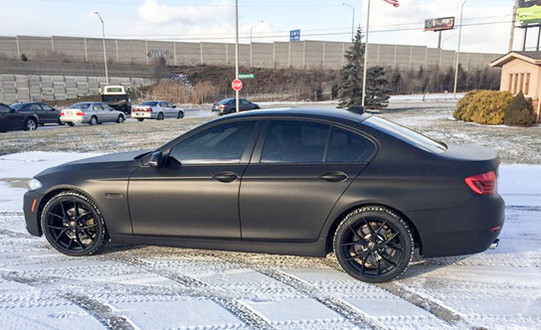 Flat black Car wrap