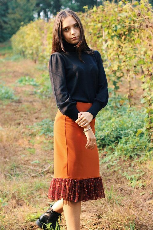TERRA -MIDI skirt with volant