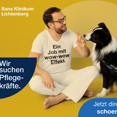 Dr. med Eric H. und Therapiehund Lewis-Oskar