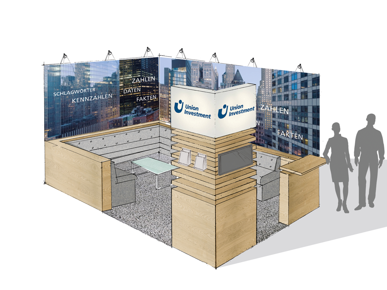 Messestand Union Investment Scribble