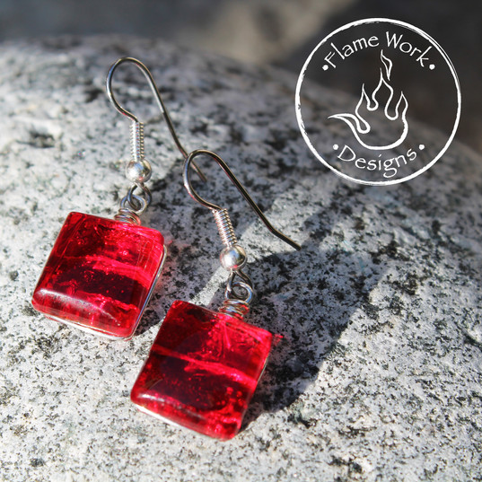 Red Dichroic Earrings