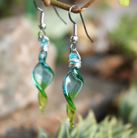 Turquoise and Lime Green Earrings