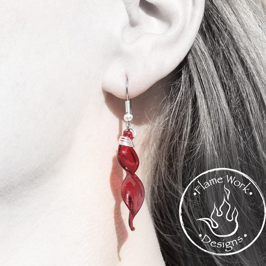 Red Spiral Glass Earrings