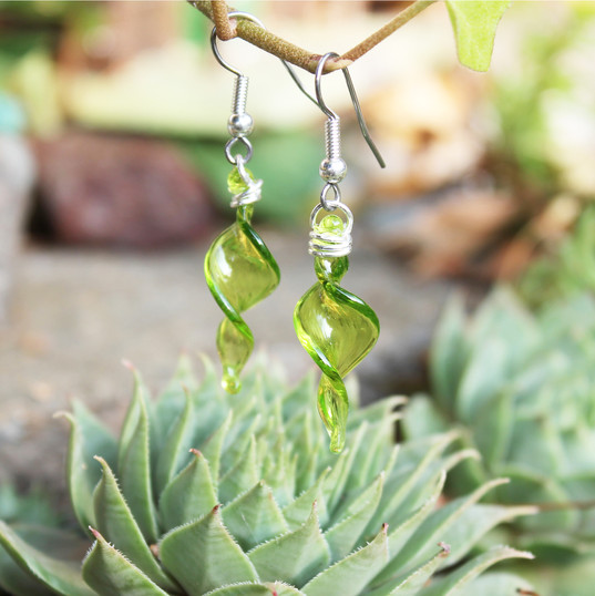 Lime Green Spiral Earrings